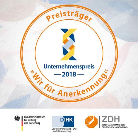 """Siegel für die Preisträger """"Wir für Annerkennung"""" 2018"""